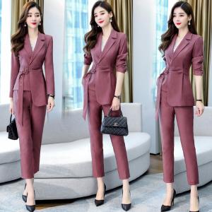 YF70320# 韩版时尚职业气质西装两件套裤
