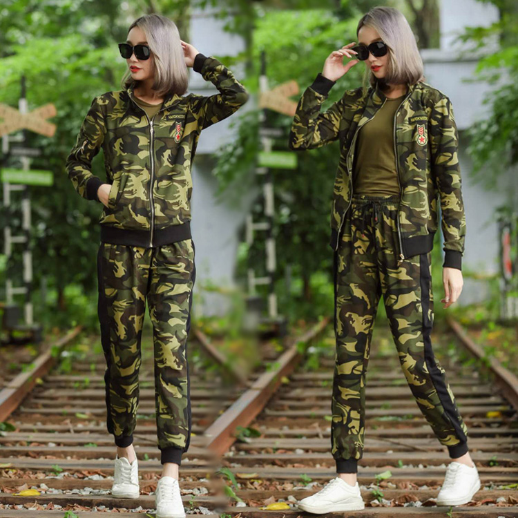 春秋季新款迷彩服套装女修身纯棉外套女式长裤户外运动休闲两件套-军迷部落-