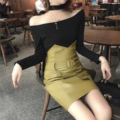 实拍实价韩版时尚chic挂脖一字领长袖上衣+高腰包身半身裙