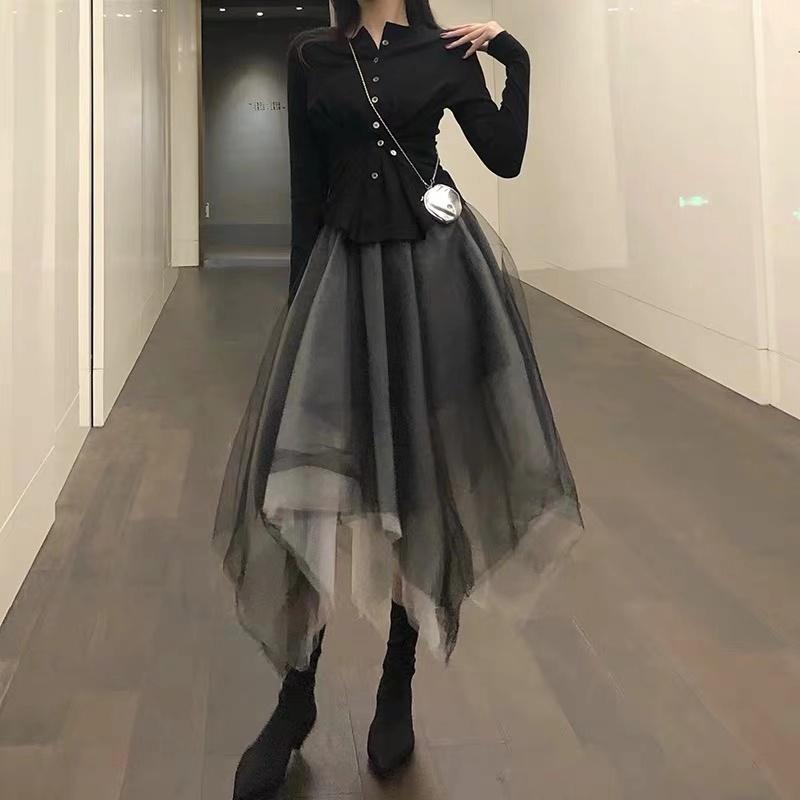 AZHUO 半身裙不规则春秋女2019高腰心机设计感长款黑色超仙网纱裙-ARYY-