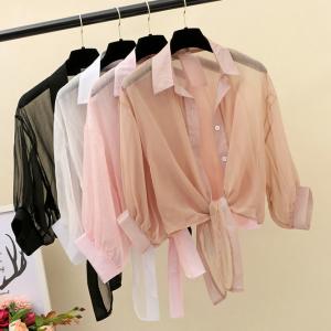 RS26127#配吊带裙子外搭的罩衫夏季百搭薄款披肩仙女上衣雪纺开衫防晒衣女