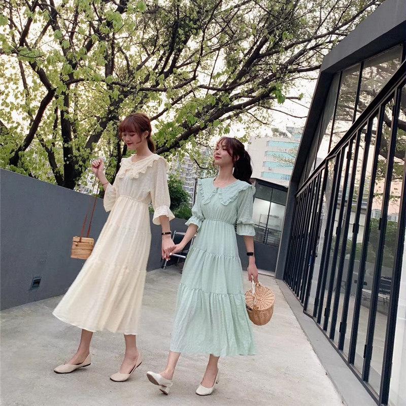 LOYO 连衣裙女小清新娃娃领泡泡格子收腰显瘦过膝中长款学生高端-悠乐衣橱-