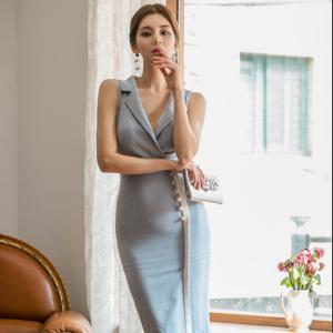 YF33066# 女装夏季新款韩版气质西装领无袖单排扣拼色修身包臀连衣裙