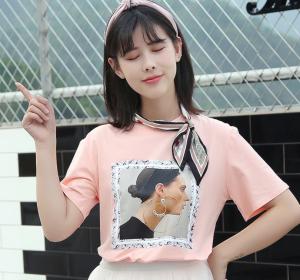 短袖3D印花带丝巾T恤女百搭学生上衣潮
