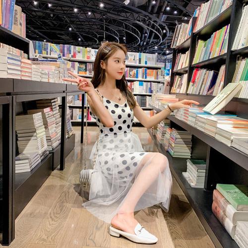 实拍 2019夏季新款闺蜜装chic超仙网纱波点吊带连衣裙