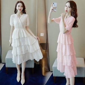 YF34200# 夏装新款很仙的印花五角星连衣裙V领收腰蛋糕裙 服装批发女装直播货源