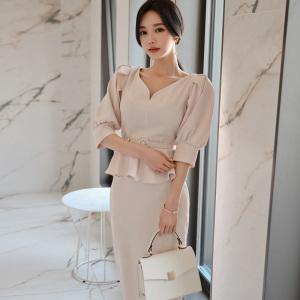 FS95108# 夏款摩登女王系带泡泡袖衬衫+半身裙套装
