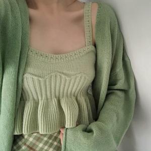 针织吊带背心女新内搭打底性感露脐小短款外穿抹茶绿上衣