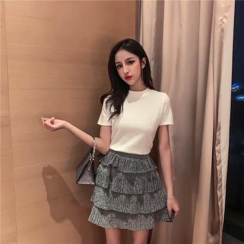实拍实价 韩版百褶蛋糕裙女半身裙+修身纯色T恤套装-林贝贝Lin-
