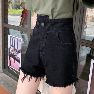 牛仔短裤女夏高腰个性腰头修身显瘦毛边宽松学生热裤