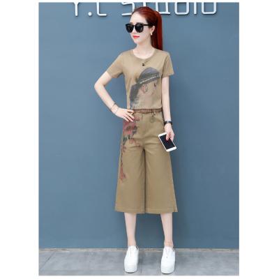 2019夏季新品时尚阔腿裤套装女装新款休闲显瘦气质时- 甜兒美服饰-