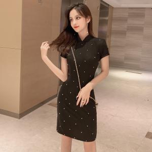 YF36733# 旗袍改良版蚀骨小个子短款年轻款少女风复古修身黑色性感连衣裙女 服装批发直播货源