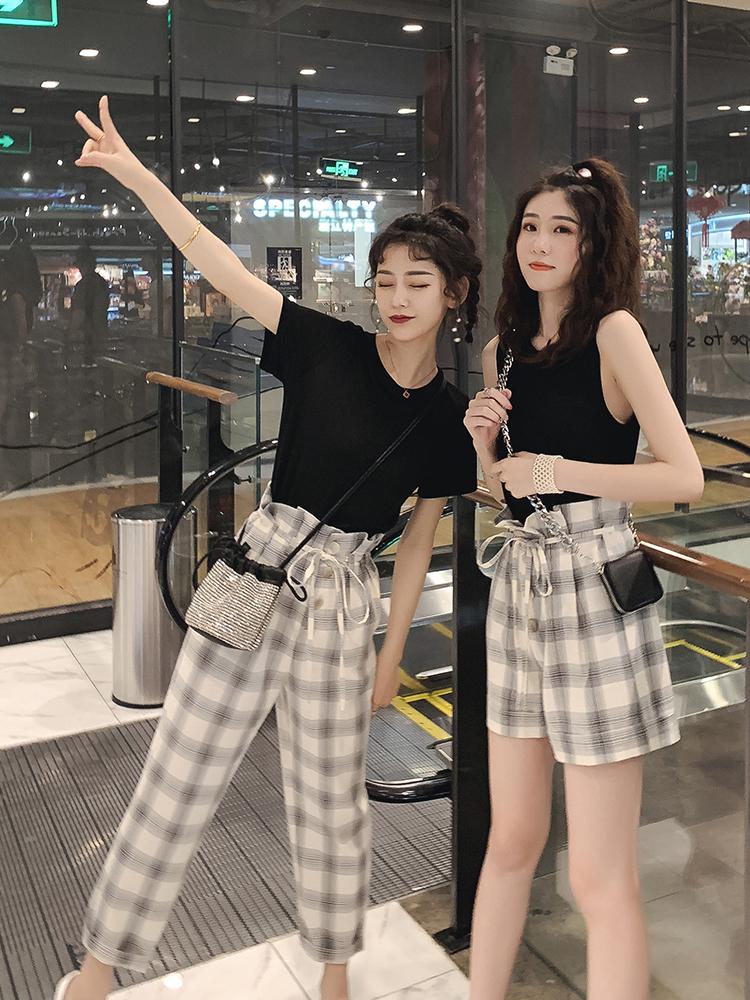 黑色短袖T恤套装女夏2019新款花苞格子九分休闲裤洋气减龄两件套-悠乐衣橱-