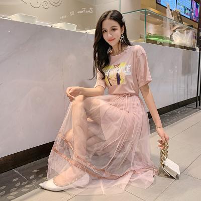 很仙的法国小众连衣裙夏2019流行夏天小个子超仙网纱两件套装裙子