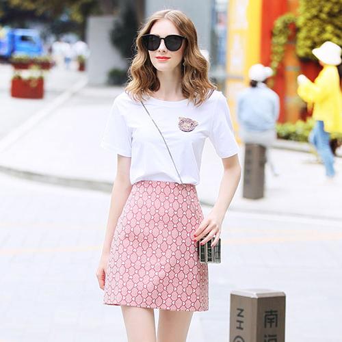罗家RMOJUL 2019夏装女装新款 钉珠小猪T恤衫+印花半身裙时尚套装-远豪服饰-