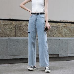 破洞阔腿牛仔裤女薄款高腰设计感老爹裤夏天直筒拖地长裤
