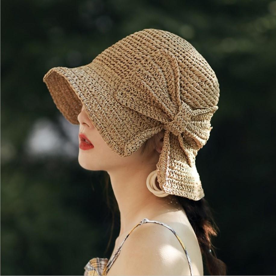 小沿草帽女夏天防晒帽海边沙滩帽蝴蝶结渔夫帽可折叠遮阳帽太阳帽-美多多服饰-