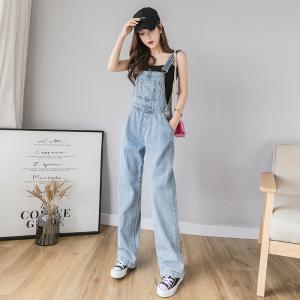 YF60351# 夏季新款网红韩版宽松减龄高腰阔腿牛仔裤背带裤