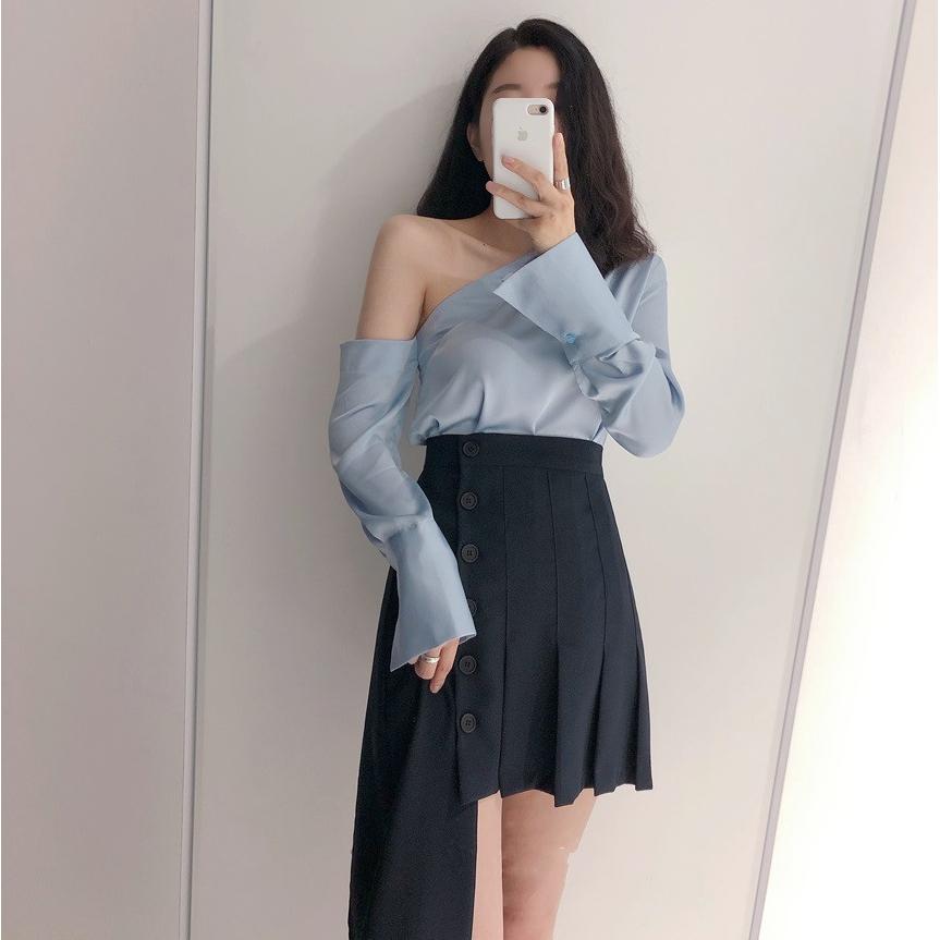 现货 实价 cin韩风 减龄学院风 不规则长度百褶高腰半身裙短裙-初九-