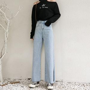 薄款高腰牛仔裤女宽松垂感阔腿裤显瘦坠感开叉拖地长裤子