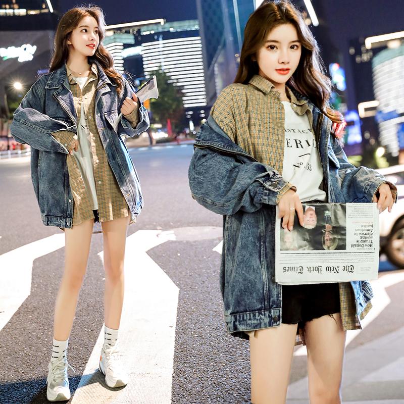 小视频实拍2019秋装新款韩版中长款BF宽松牛仔外套女-欧贝伊服饰-