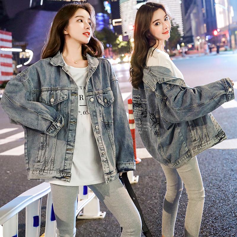小视频实拍2019秋装新款韩版宽松字母刺绣牛仔外套女-欧贝伊服饰-