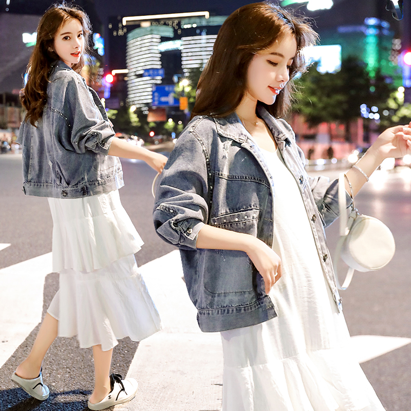 小视频实拍2019秋装新款韩版钉珠短款牛仔外套女-欧贝伊服饰-