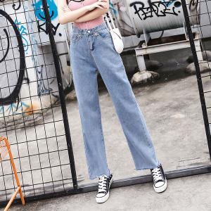 复古港味加长垂感阔腿牛仔裤高腰女显瘦宽松直筒长裤