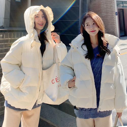 实拍短款棉服女2019新款冬装面包服韩版太阳帽棉衣宽松bf棉袄外套