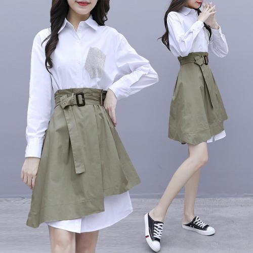 白色衬衫长袖连衣裙早春装新款女初春季2020年流行裙子套装两件套