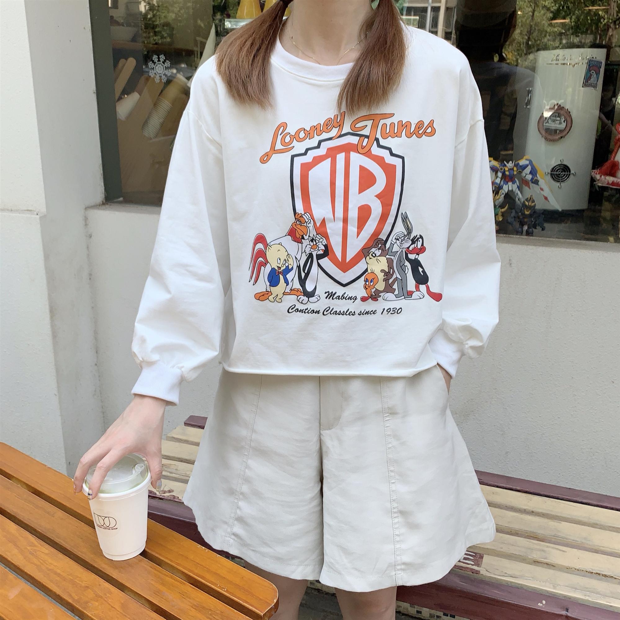 实拍~新款韩版卡通印花兔八哥高腰短款露脐长袖T恤女上衣潮-自然坊服饰-