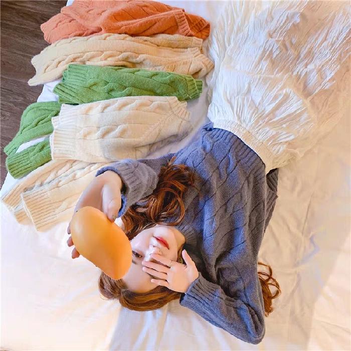 官网图~网红短款牛油果绿毛衣套头麻花时尚洋气宽松针织衫好质量-小黄家-