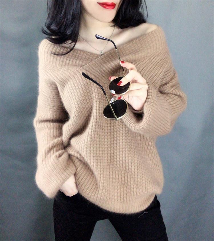 官网图~秋冬新款韩版毛衣套头宽松大码加厚V领马海毛针织衫好质量-小黄家-