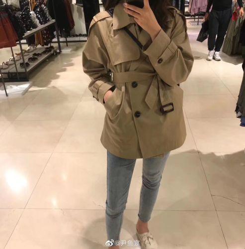 2019秋装新款女装长袖韩版系带小个子风衣女中长款时尚英伦风外套-安东妮网红定制-