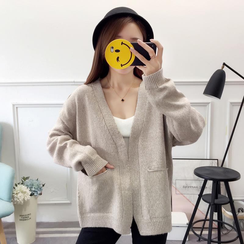 实拍图~秋冬装新款毛衣外套学生纯色简约针织百搭上衣好质量-小黄家-