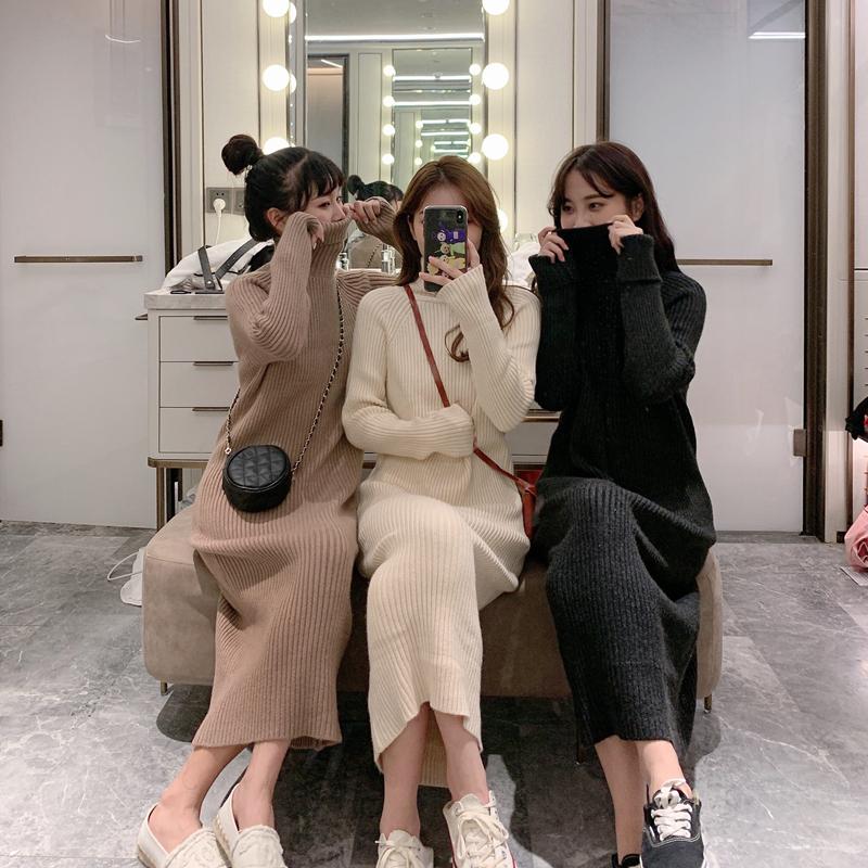 实拍~冬装韩版宽松韩国中长款针织衫高领过膝加厚毛衣裙好质量-小黄家-