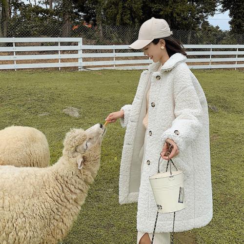 实拍控价168元羊羔毛外套女加厚皮毛一体chic毛呢羽绒服外套A2
