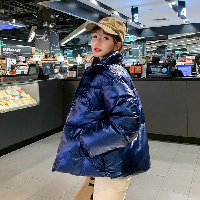 实拍2019冬季韩版新款时尚亮面短款羽绒服女加厚宽松面包服外套潮-千姿秀羽绒服-