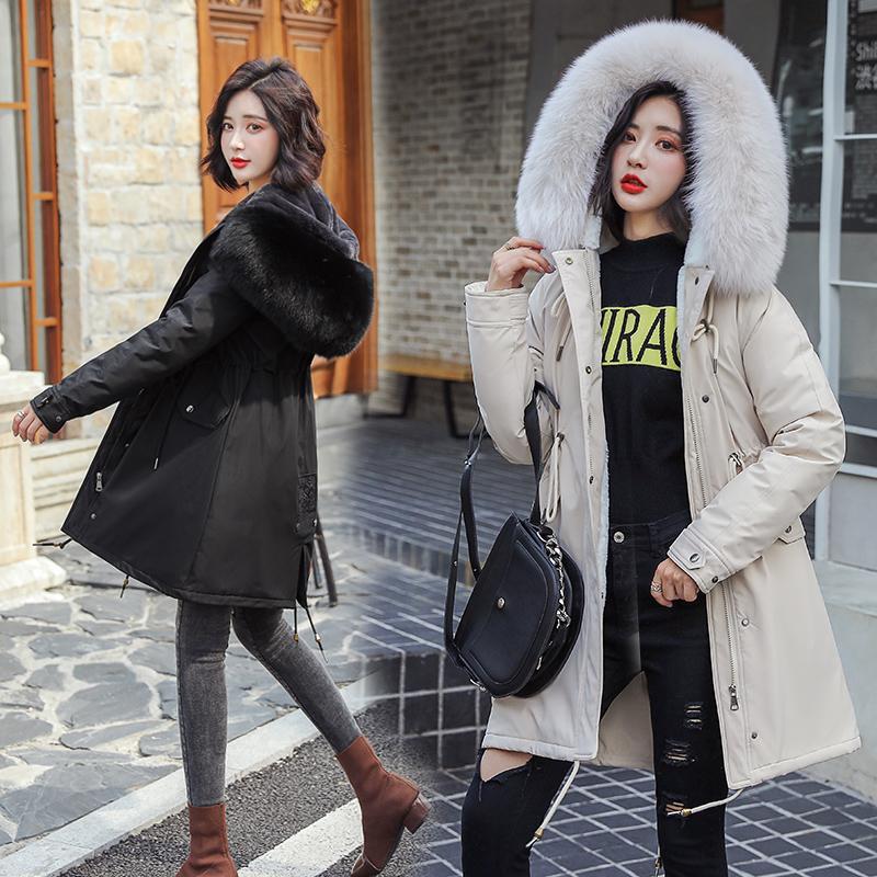 实拍派克服新款大码女装獭兔毛内胆皮草外套中长款可拆卸狐狸毛领-敏敏时尚羽绒服-
