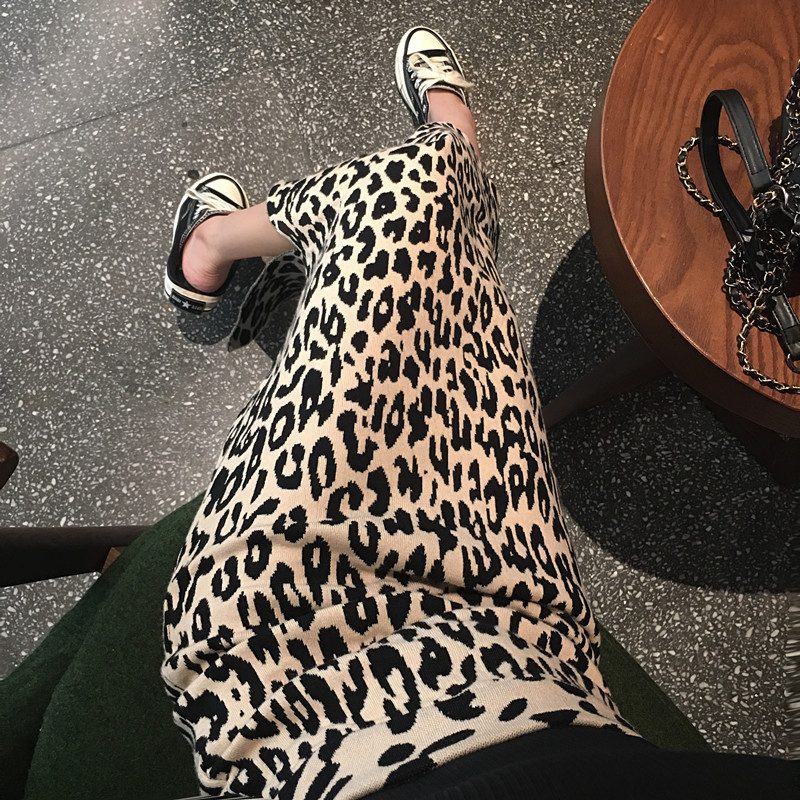 LGGSTYLE chic风百搭中长款开叉毛针织豹纹半身裙女高腰针织裙-YK时尚-