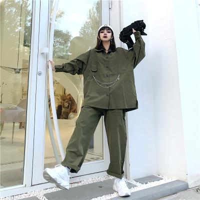 控价37-42韩国INS男女小众军绿色套装休闲上衣外套宽松阔腿直筒裤