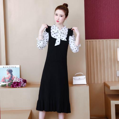 2019秋冬法式减龄显瘦大码背带裙针织毛衣连衣裙两件套装裙