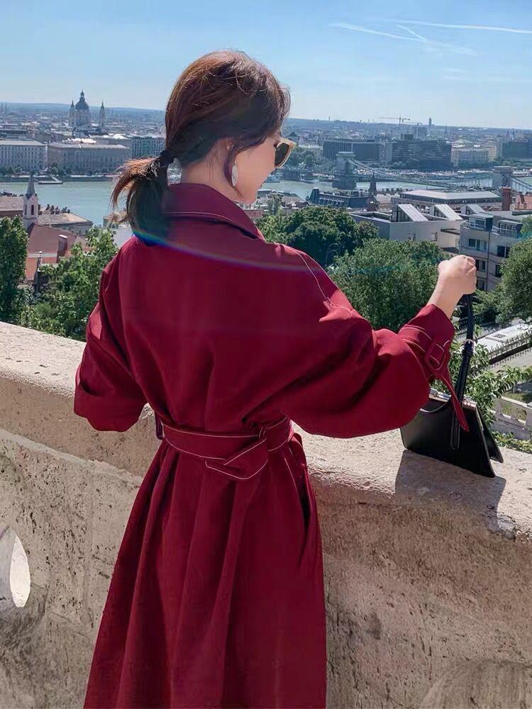 风衣女中长款2019秋季流行新款韩版宽松英伦风气质小个子学生外套-茜米服饰-