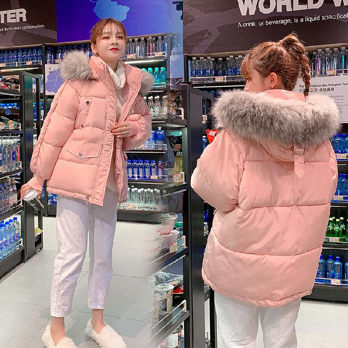 实拍2019学生棉袄韩版宽松面包服短款羽绒棉服连帽冬季加厚外套女-千姿秀羽绒服-