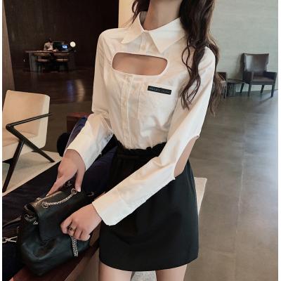 实拍港味白色衬衫女设计感小众镂空长袖2019初秋新款洋气上衣