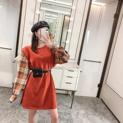 实拍现货2019秋新款弹力拼接格子衬衣袖假两件套字母卫衣裙