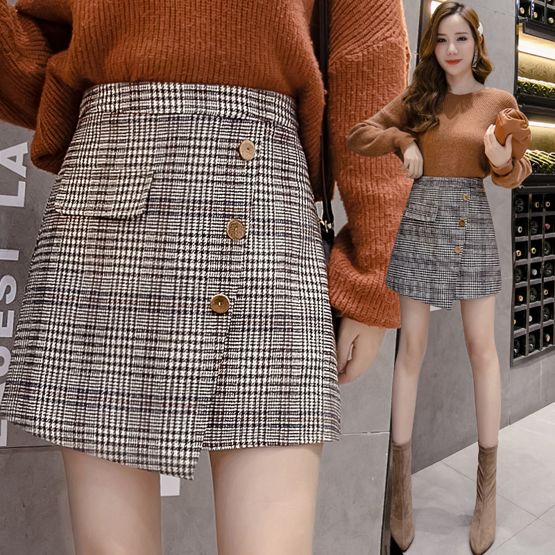 实拍格子半身裙子秋冬款高腰毛呢子单排扣不规则A字裙子女-MGM-8度服饰-