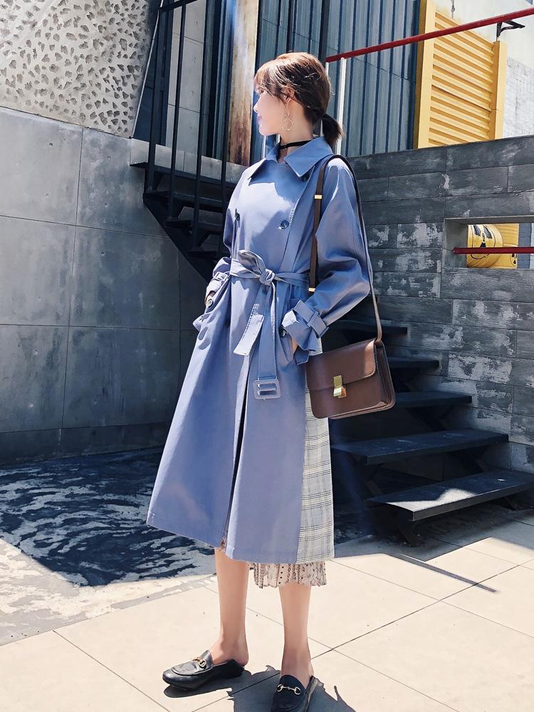 风衣女2019秋季新款流行小个子英伦风格子大衣中长款过膝韩版外套-薇米时尚衣馆-