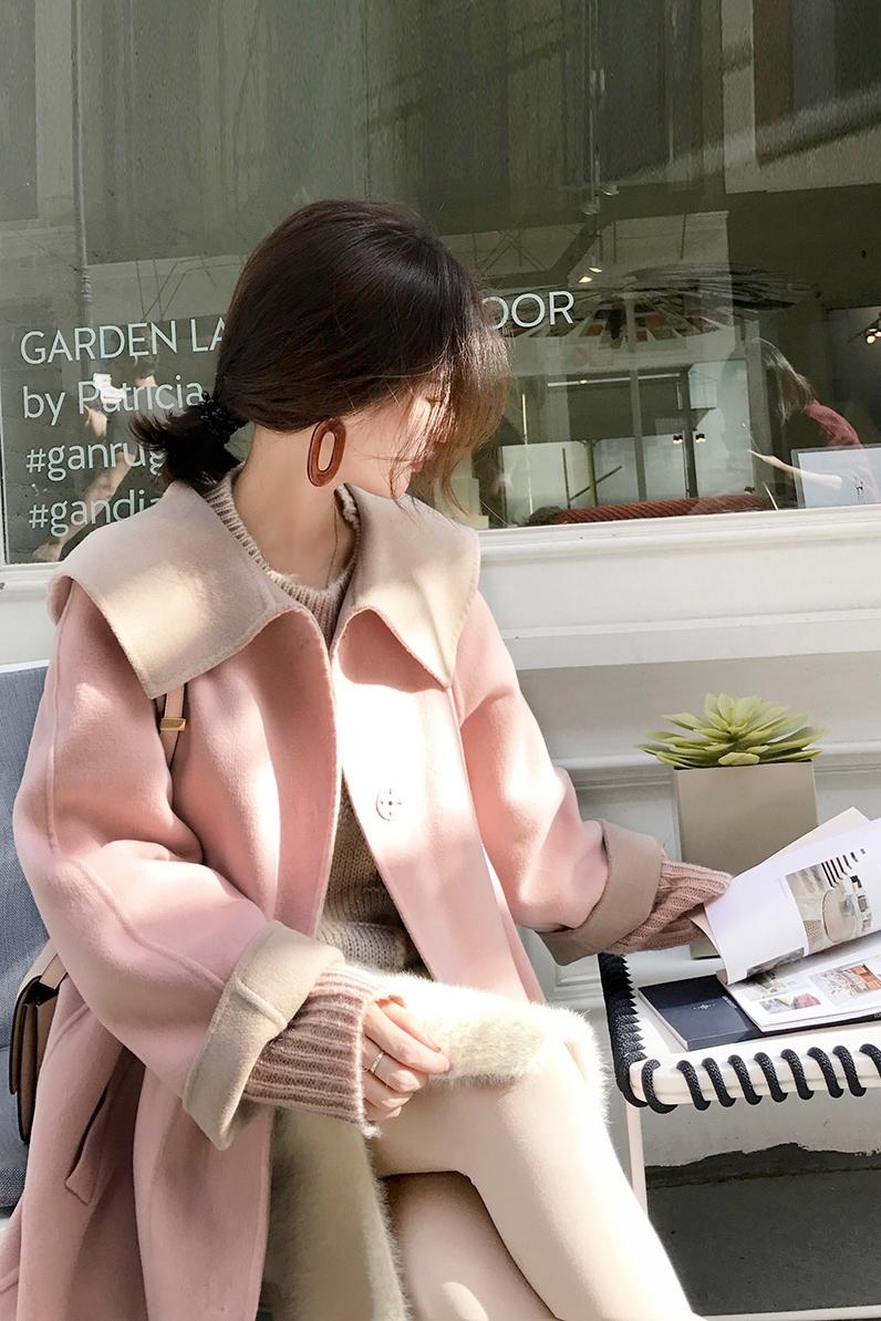大喜自制2019新款百搭甜美单排扣纯色双面呢大衣宽松毛呢外套女冬-千衣百顺服饰-