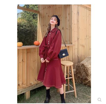 MG小象秋装女2019新款红色中长款风衣小个子流行工装外套翻领大衣-样样红实拍店-
